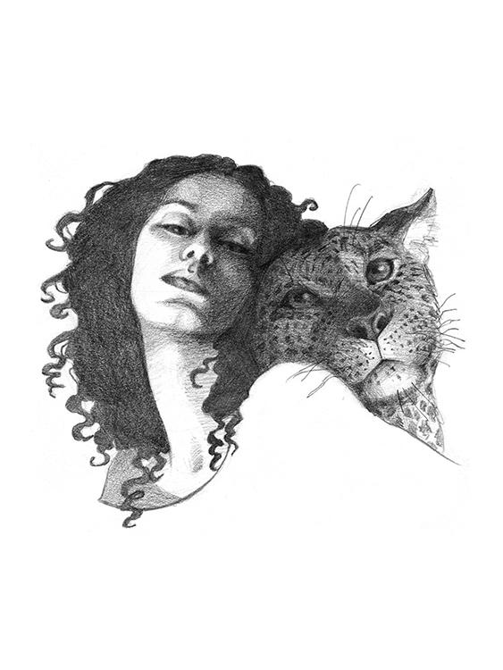 Woman with Jaguar - Natalia Stolarska